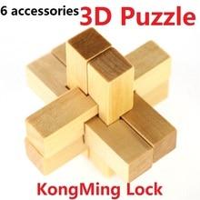 Offre spéciale Vintage KongMing serrure 3D Puzzle YX835 en bois cerveau Teaser Puzzle jeu jouets 6 accessoires Luban serrure livraison gratuite