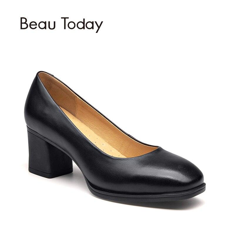 Zapatos para mujer BeauToday, zapatos de tacón alto con punta cuadrada de cuero de vaca auténtico hechos a mano para oficina, zapatos de barco de marca 15024