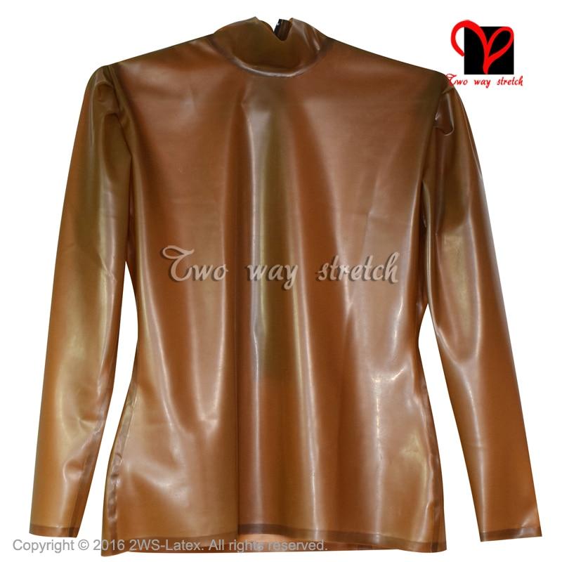 Sexy transparent brown Latex blouse Long sleeves Rubber shirt Gummi Uniform blazer Top clothes clothing plus size XXXL SY-065