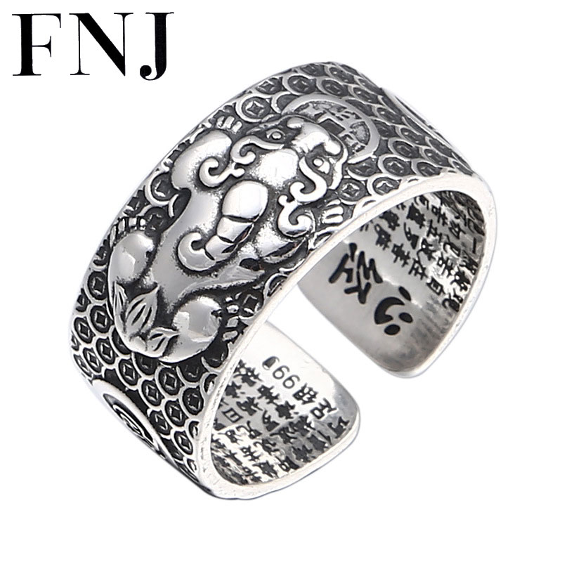FNJ Animal Pixiu Kirin anillo 925 joyería de plata nuevo Punk S925 anillos de plata esterlina para hombres tamaño ajustable 8-11 bague