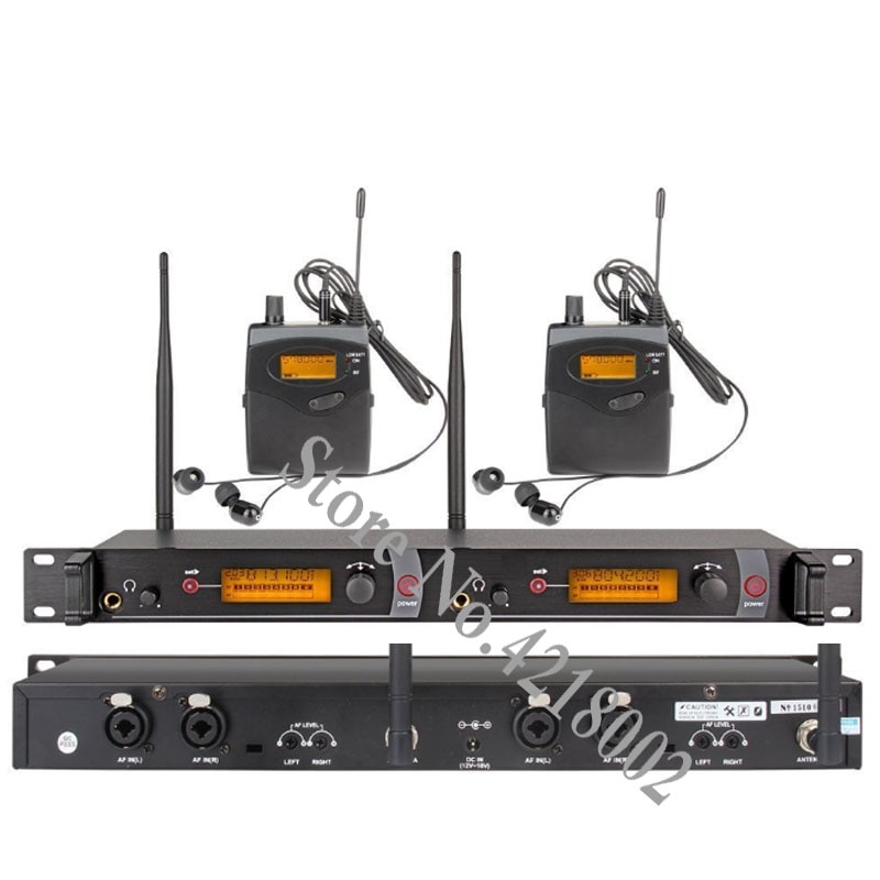 نظام مراقبة الأذن اللاسلكي 2 قناة 2 رصد بوديباك مع نوع سماعة لاسلكية المستخدمة في استوديو المسرح