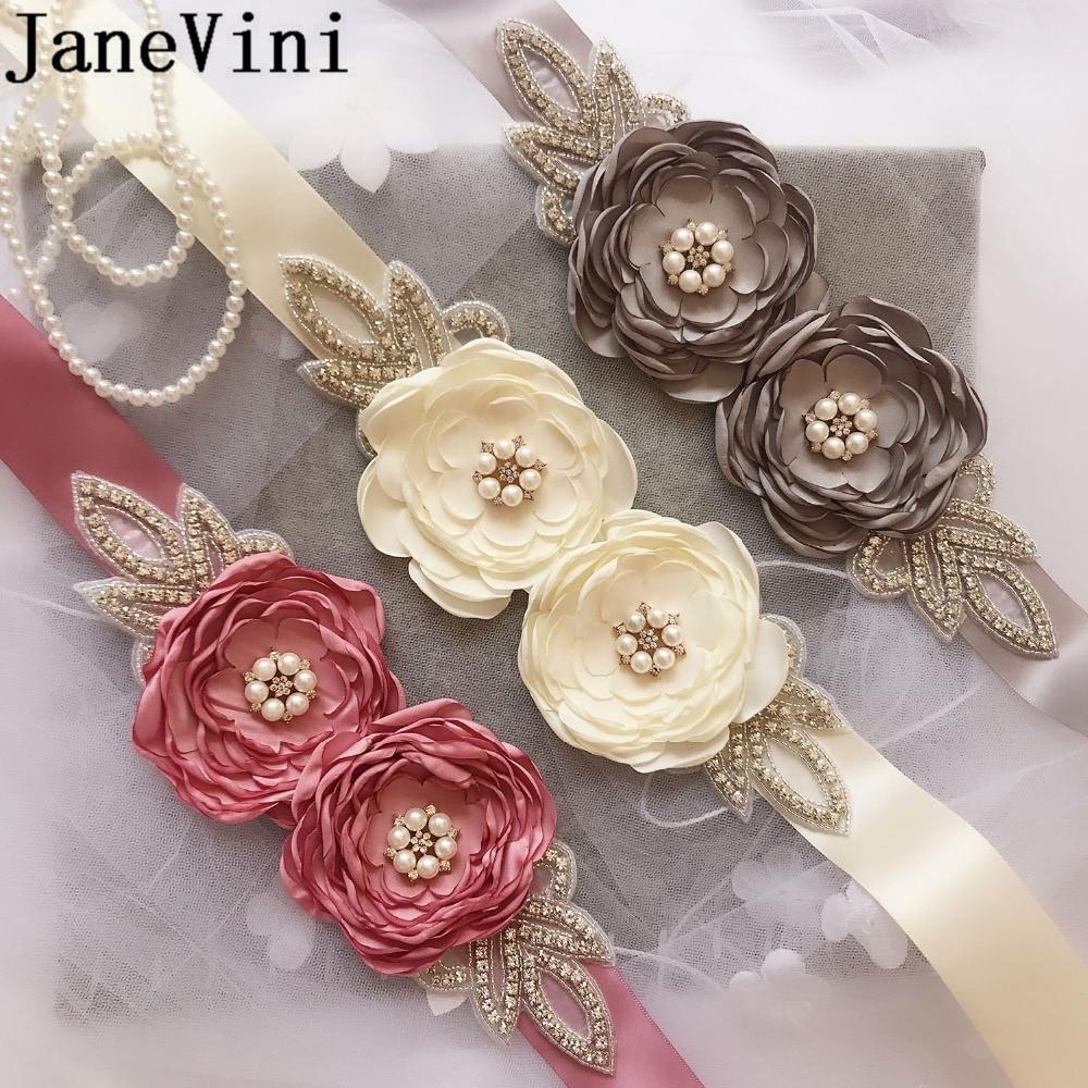 JaneVini-Cinturón de novia de Cristal para dama de honor, cinturón con cuentas de Cristal, con perlas y flores, novedad