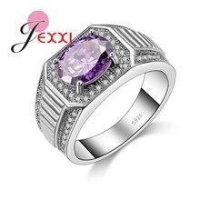 Qualidade superior nova chegada genuína 925 prata esterlina moda feminina jóias bonito claro roxo cristal anéis de casamento