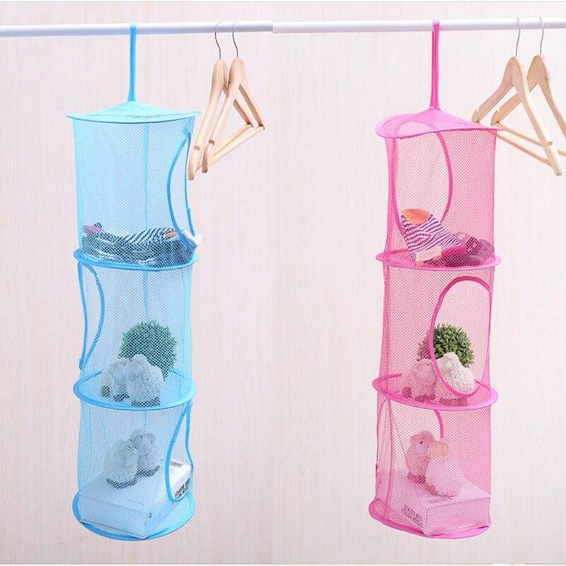 3 Shelf Hanging Storage Net Kids Toy Organizer Bag Bedroom Wall Door Closet Home Household