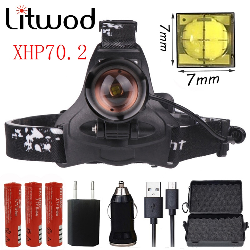 Litwod Z402608 Led chip de faro XHP70.2 faro 40000lum potente caza zoom cabeza luz cabeza lámpara linterna