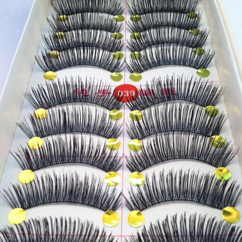 10/20/30Pairs Handmade Fake Eyelashes False Eyelash Natural Look Cotton Black Stalk  Eye Lash Makeup Fake Eyelashes Extensions