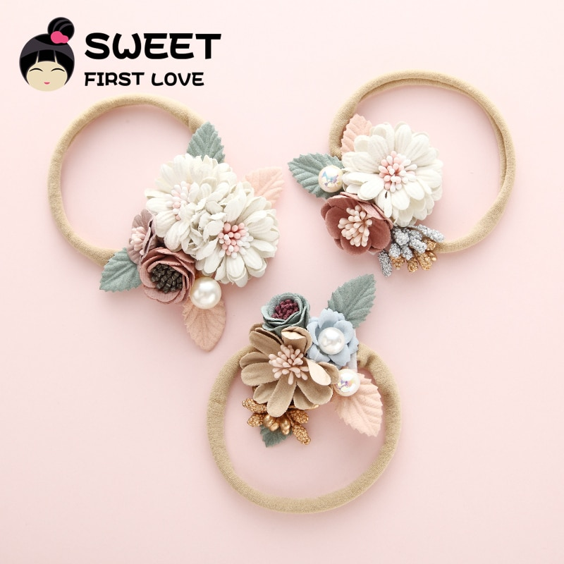 Diadema de nailon con flores para niña bonita, accesorios para bebé, banda para el pelo de perlas, diadema elástica de princesa al por mayor, accesorios para el cabello para niños