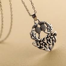 1pcs Celtics Knot Thistly Flower Field Scotland National Symbol Necklace Charm Fashion Jewelry For Men Women SGL224
