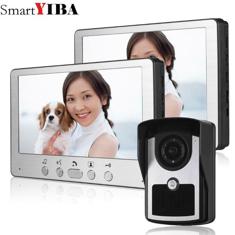Intercomunicador para puerta de vídeo SmartYIBA, videoportero con cable de 7 pulgadas, sistema de entrada de teléfono y puerta, visión nocturna, 1 cámara, 2 monitores