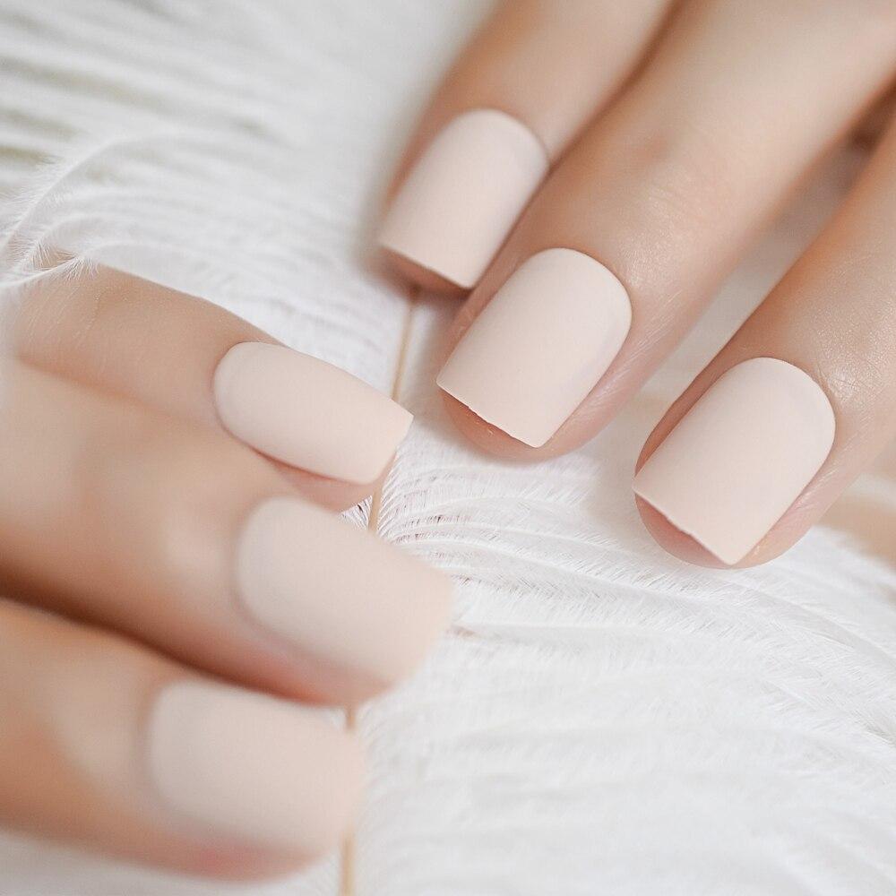 Накладные акриловые ногти Frost Matte Surface, полностью закрывающие ногти телесного цвета, 24