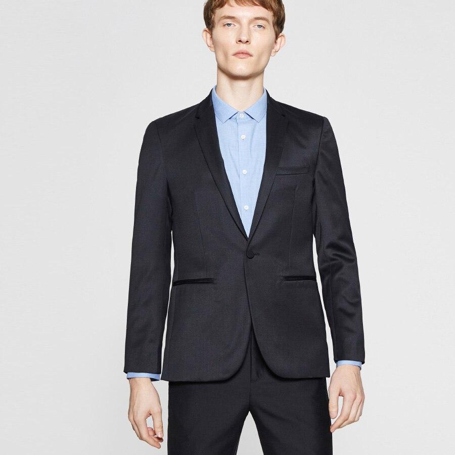 Traje de negocios negro para caballeros, esmoquin para novio, traje de boda, Blazer para hombre, ajustado para hombres, 2 piezas (chaqueta + Pantalones) hecho a medida 2019 nuevo