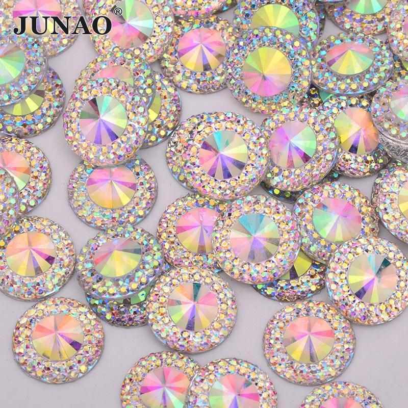 JUNAO 12 14 20 30 mm Glitter AB Rivoli Rhinestones Flat Back Gems Resin Strass Crystal Applique Round Stones for Crafts Supplies