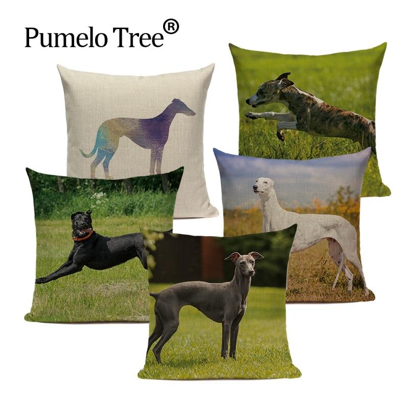 クッション家庭用装飾グレイハウンドクッションカバー動物犬枕カバー 45*45 カスタム品質greendecorationカバーのための枕