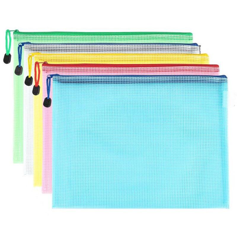 10 pcs/lot Pen bags Gridding Waterproof Zip Bag Document Pen Filing Products Pocket Folder Office & School Supplies Plastic Bag