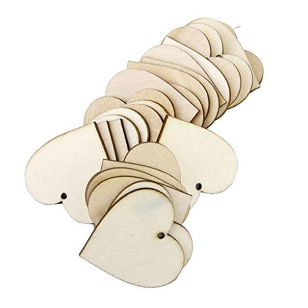 Adornos pequeños de formas de corazón de madera de 25 uds. Y 40mm para decoración artesanal