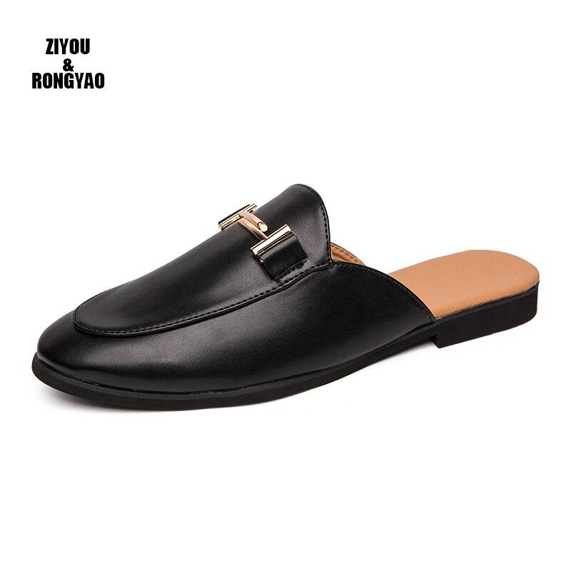 Homens de Luxo Sapatos de Couro Dedo do pé Vestido Chinelos Apontado Apartamentos Escritório Festa Casamento Sapatos Mais Size3845 Verão