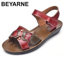 BEYARNE 캐주얼 정품 가죽 샌들 여성 웨지 샌들 플랫폼 여름 신발 숙녀 Sandalias 비치 신발 Chaussures Femme