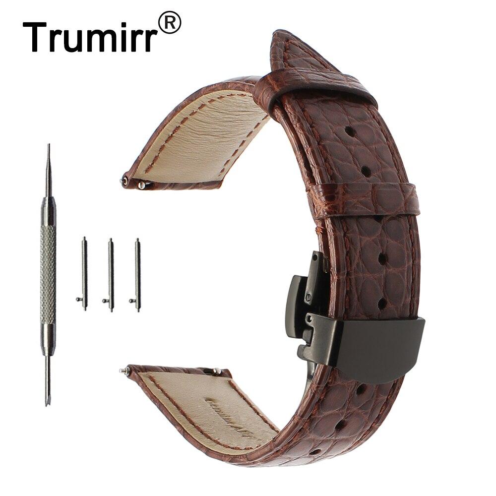Correa de reloj de cuero de cocodrilo genuino 22mm para Vector Luna/Meridiano Amazfit correa de reloj de liberación rápida mariposa de acero