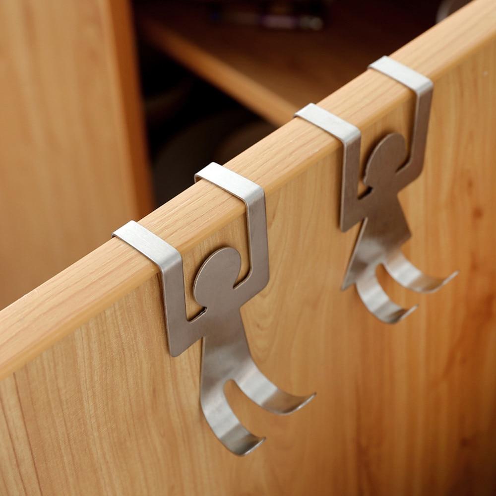 2 шт./компл. держатель для хранения из нержавеющей стали, вешалка, крюк, прочные крючки для кухни и ванной комнаты, инструмент для одежды F1020