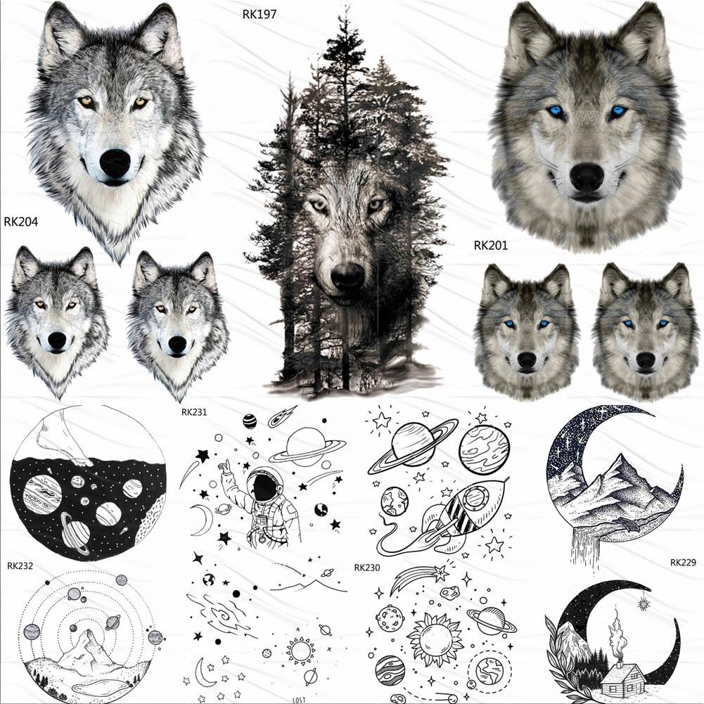 OMMGO Forest Tribal Wolf Men Women Temporary Tattoos Waterproof Body Art Planets Tatoo Paper Arm Face Fake Little Tattoo Sticker