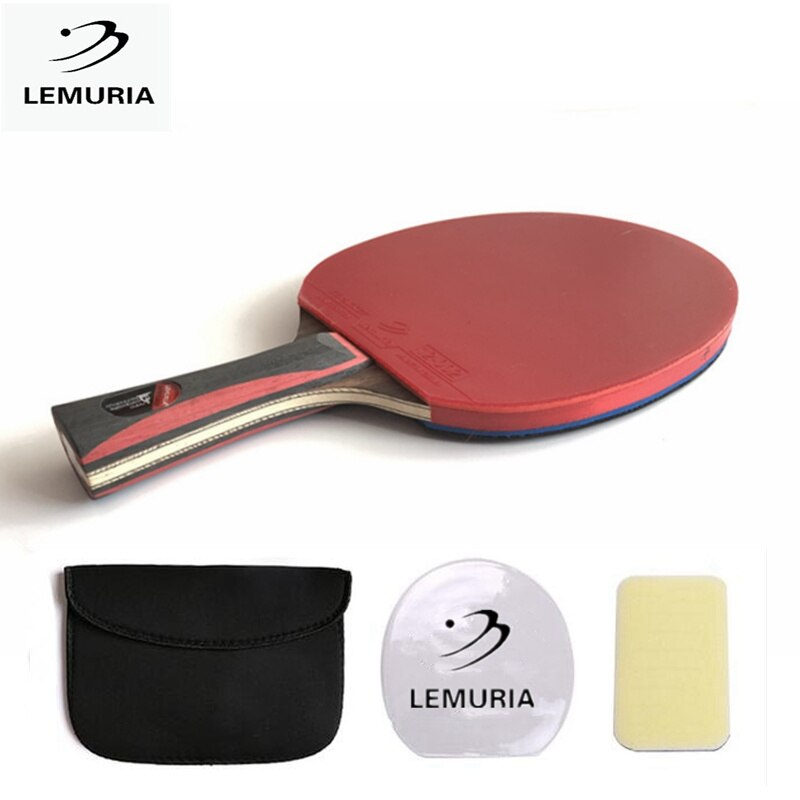 Lemuria directo raqueta de ping pong de mango largo mango corto de carbono hoja de goma con doble cara granos en ping pong raqueta con el caso