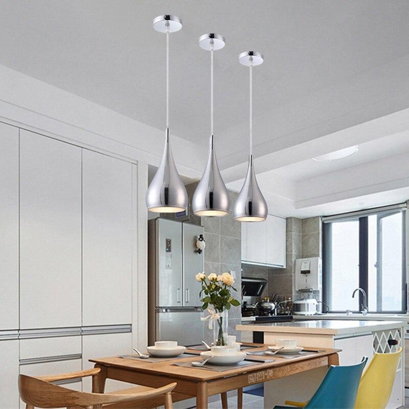Barra de iluminación colgante de Luces colgantes modernas plateado, luz para Isla de cocina, estudio, dormitorio, colgante para el hogar, lámpara de techo incluye bombilla