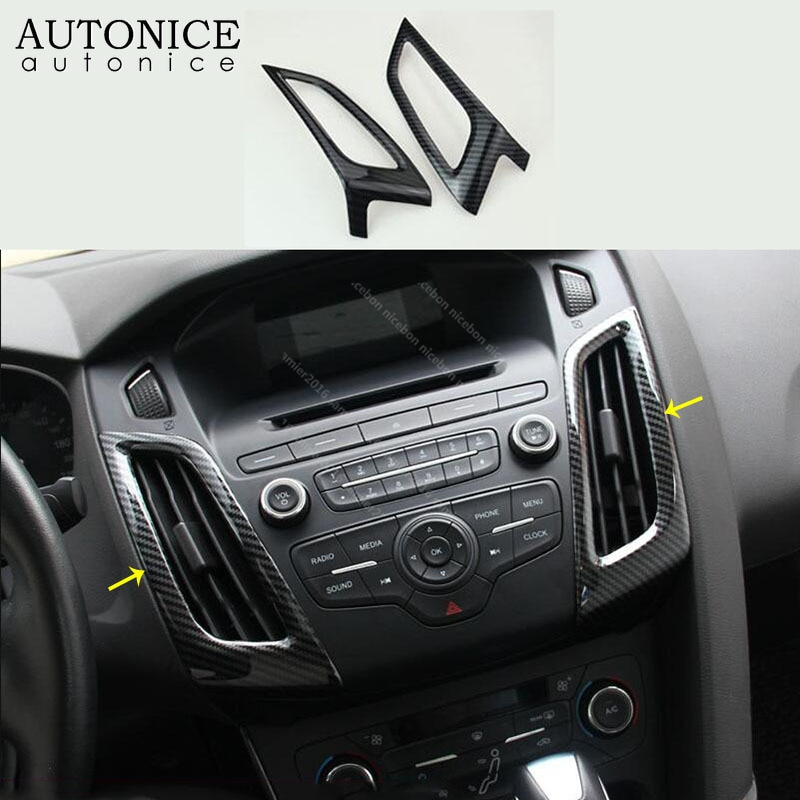 For Ford Focus MK3 RS ST 2012-2014 Carbon fiber color Interior dashboard air conditioner vent Trim 2PCS