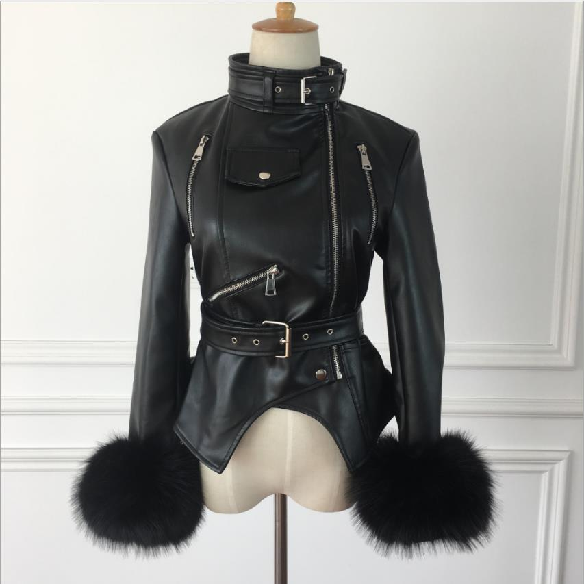 Costura con cremallera manga de pelo PU chaqueta nueva otoño 2020 chaqueta de cuero de PU de la motocicleta femenina párrafo corto chaqueta delgada de la pu wq1162