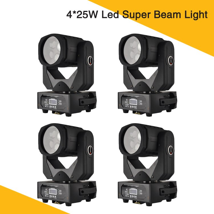 (4 unids/lote) promoción caliente 4*25W Led Super haz de luz móvil 9/15 canales