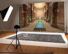 Ancient egyptian temple god anubis Blue Vase frescoes Backgrounds Vinyl cloth High quality Computer print wall photo backdrop