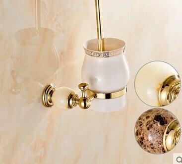 النحاس و اليشم حامل فرشاة المرحاض مع كأس السيراميك ، مطلية بالذهب المنتجات الجديدة القادمين تنظيف المرحاض فرشاة الحمام فرشاة حامل