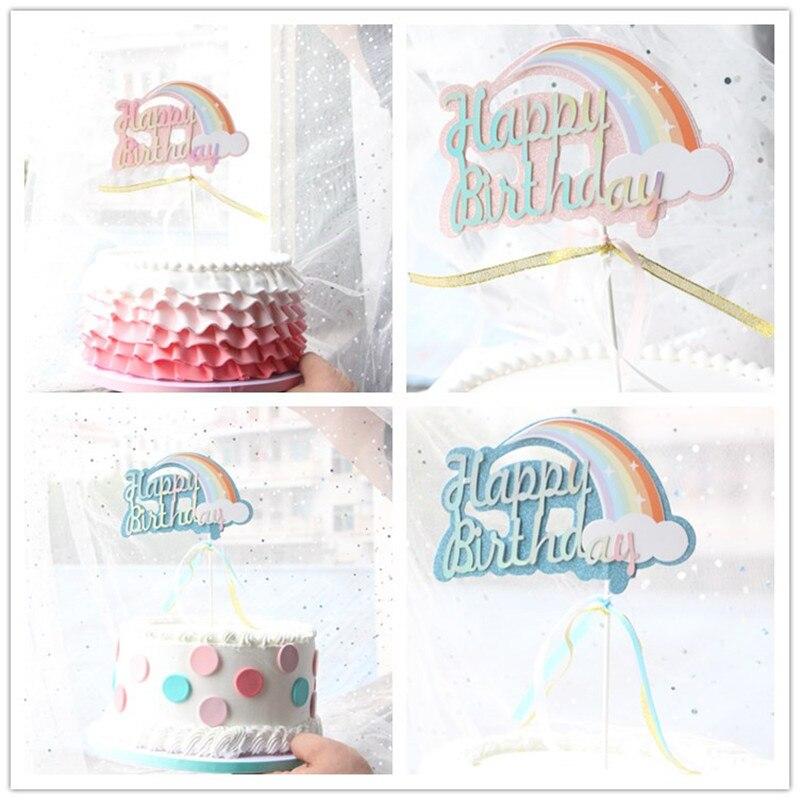 """Brillo rosa azul Biling Arco Iris nube Unicornio """"Feliz Cumpleaños"""" Topper de la torta para decoración de fiesta postre encantadores regalos"""