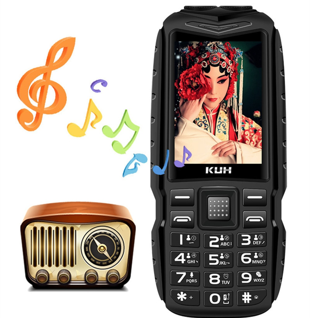 Larga modo de reposo KUH T3, Tarjeta Sim Dual, teléfono móvil robusto GSM, 2,4 pulgadas, linterna Dual, batería de 13800mAh, gran voz, teléfono móvil