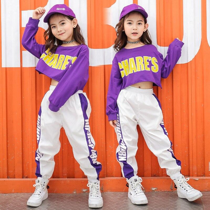 Conjuntos de ropa para niños, Hip hop, traje de baile de Jazz, Ropa para Niñas, Crop Tops, pantalones, trajes, chándal de manga larga para adolescentes