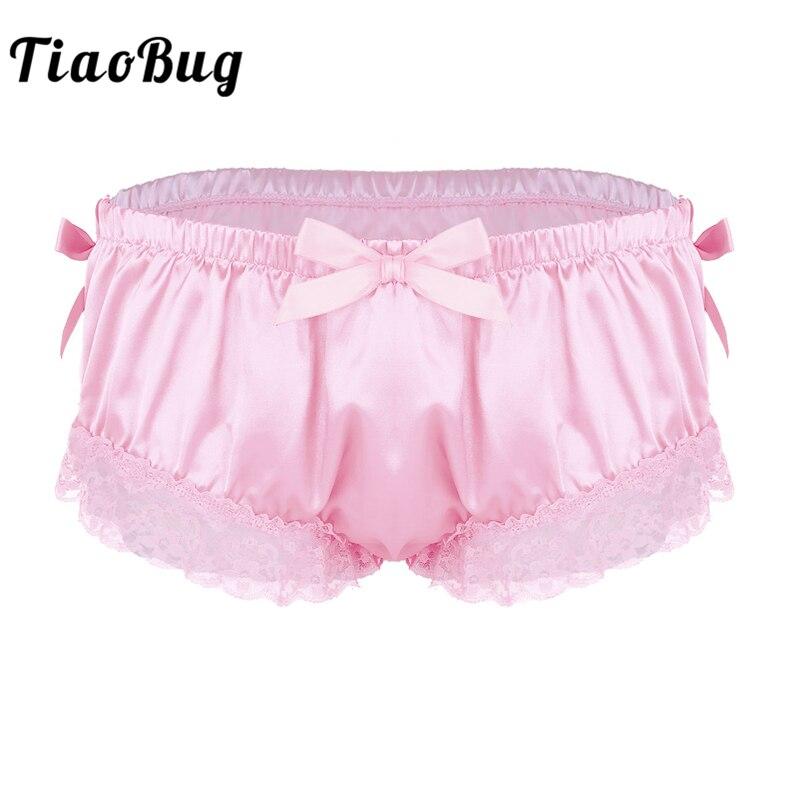 Homens TiaoBug Sissy Panties Brilhante Suave Cetim Plissado Lingerie Floral Lace Bonito Bowknot Calcinhas Briefs Sexy Hot Cueca Gay Masculino