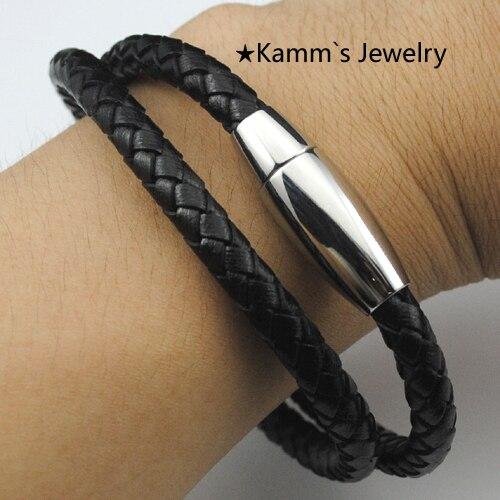 Podwójna pętla bransoletka podróżnik liny czarny ze stali nierdzewnej ancora jamajka pulseira prata mrożone bransoletka tribal wysokiej jakości KB023