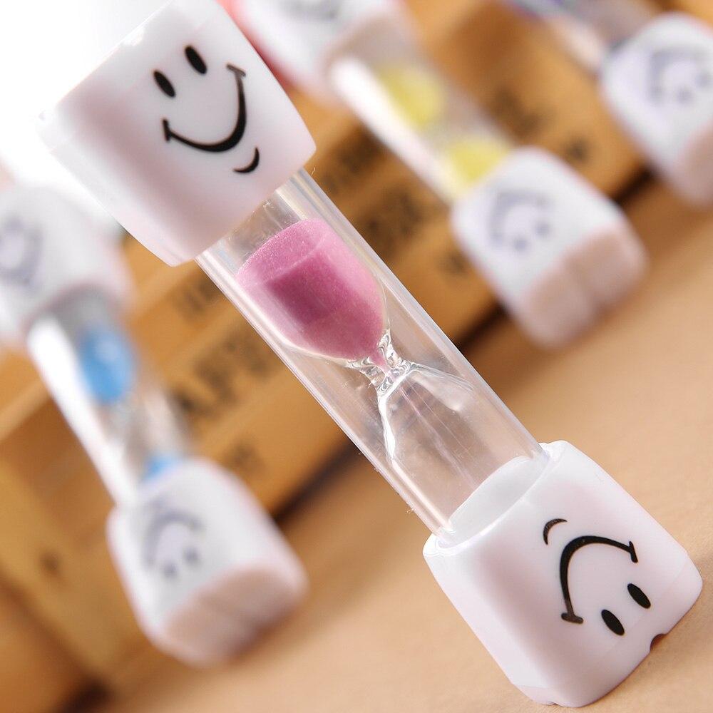 1PC lindo diseño de cara sonriente reloj de arena de los niños cepillo de dientes temporizador 3-minuto sonrisa reloj de arena de cepillado de dientes reloj de arena