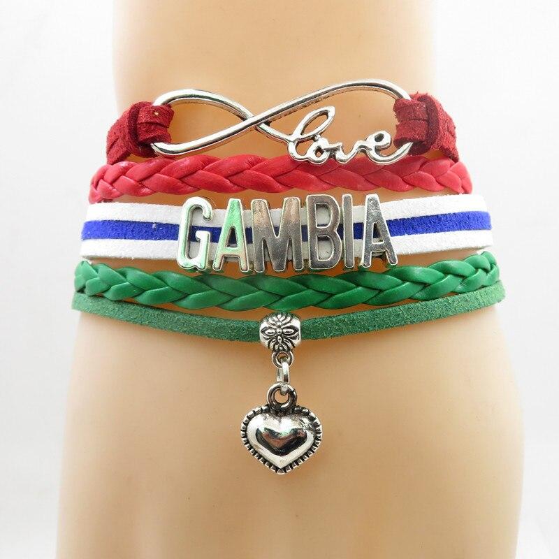 Infinito amor gambia pulsera de dijes con corazón gambia Bandera Nacional pulseras y brazaletes para mujer y hombre