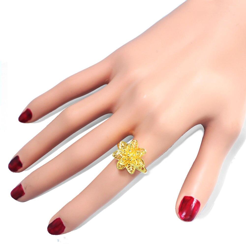 JUST FEEL 2018 Color oro flor anillo ajustable cobre planta anillos joyería regalo de boda, artículos de Turquía/África/Medio Oriente
