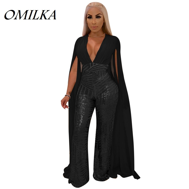 OMILKA Cape Sequin Rompers and Jumpsuits 2018 Autumn Women Long Sleeve Backless Bodycon Black Gold Sexy Club Party Overalls