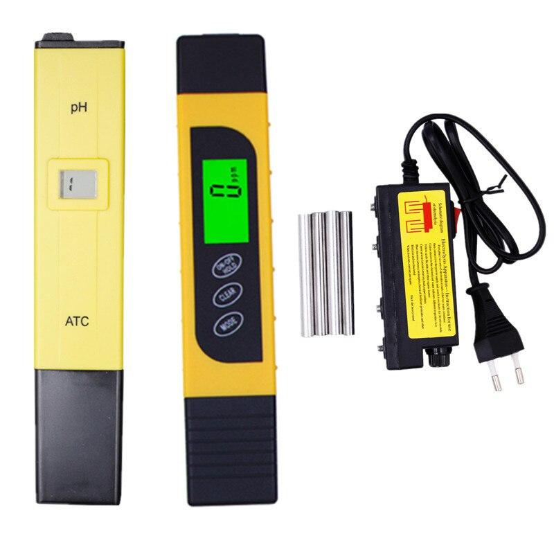 3 stücke PH Meter 0,0-14.0pH Filter + TDS EC Temperatur leitfähigkeit tester + wasser Aquarium elektrolyseur elektrolyse EUR stecker 40% off