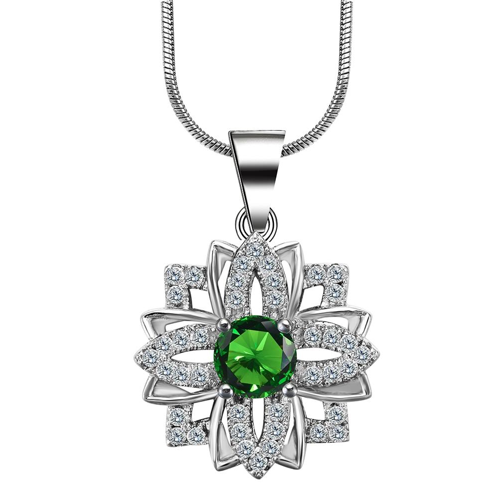 Hainon Vert Fleur Luxe Classique Bijoux Couleur Argent Cadeau De Mariage Pour Les Femmes Collier Pendentif de Fiançailles Distribution