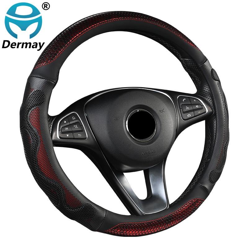 DERMAY سيارة غطاء عجلة القيادة موضة جديدة كول نمط 38 سنتيمتر 4 ألوان جديلة دائم على المقود عدم الانزلاق السيارات حامي السيارات