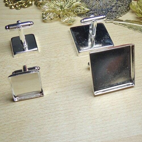 Envío Gratis 12 piezas de plata brillante 20mm cabujón configuración gemelos cuadrados #23123