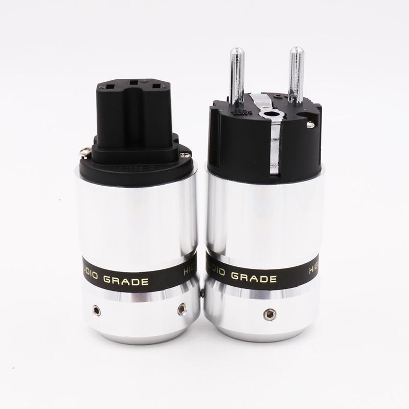 Um par Novo OEM Rhodium EUR Schuko Hifi IEC Conector de Energia Elétrica plug jack adapter