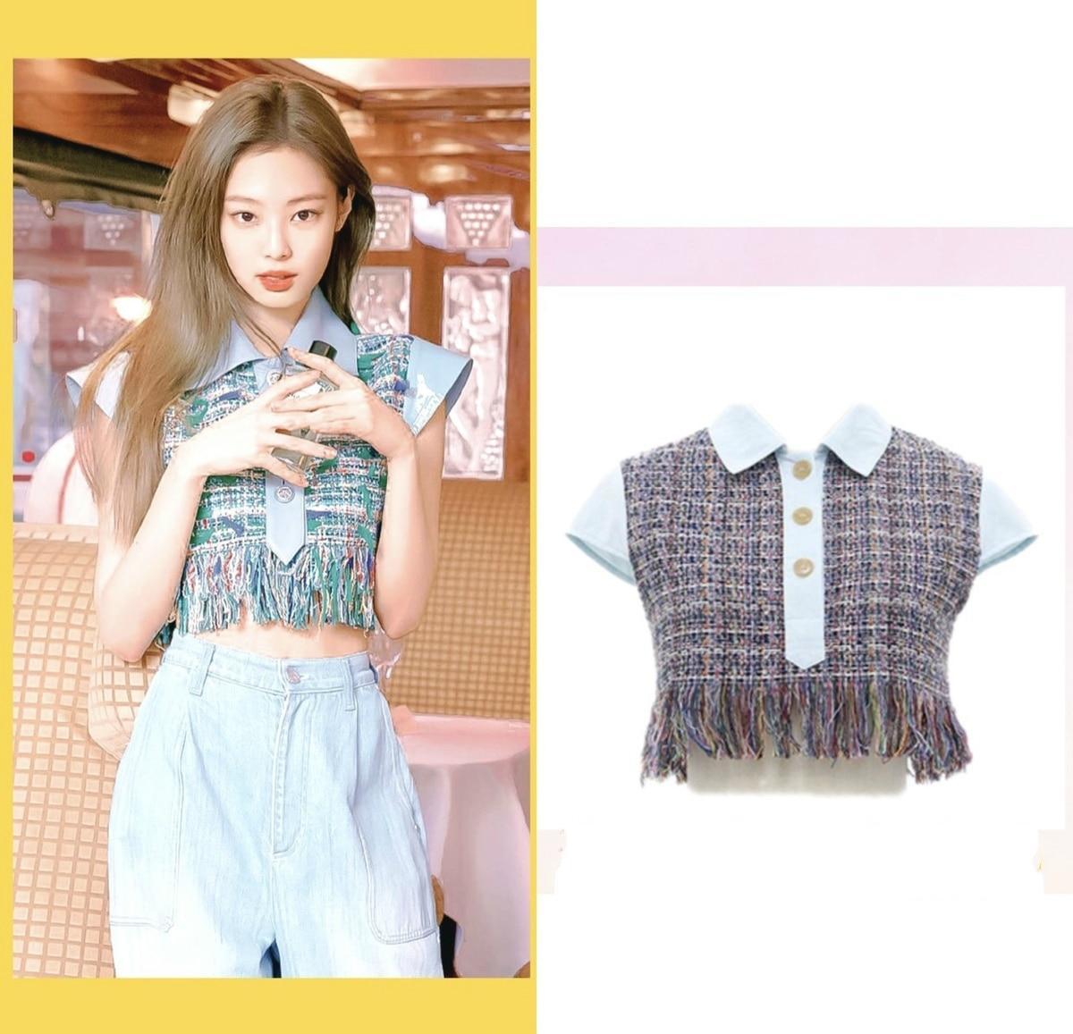 Kpop blackpink jennie o mesmo tweed franjas t camisa das mulheres streetwear kawaii camiseta coreano harajuku vento manga curta tshirt