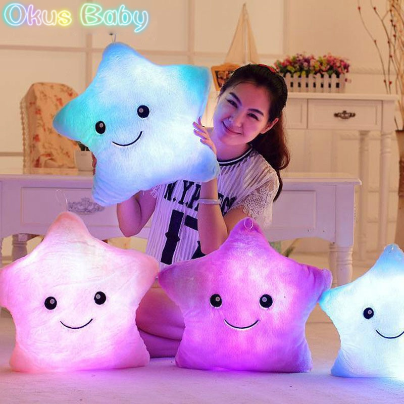 Luminous Pillow Star Cushion Colorful Glowing Pillow Plush Doll Led Light Toys Gift For Girl Kids Birthday Bedroom Decoration led light soft plush pillow luminous toys 36cm colorful stars love shape kids adult birthday christmas gift