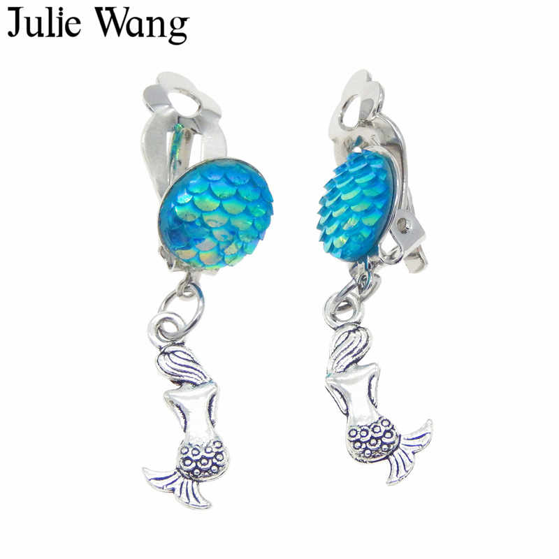 Julie Wang 1 par resina sirena pez escamas cabujón de aleación de oreja Clip DIY mujeres pinza de chica pendientes de joyería