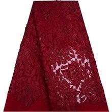 Кружевная ткань красного цвета с аппликацией из бисера, высокое качество, новейшее Африканское кружево 2018, ручная работа, 3D кружевная ткань для нигерийских свадебных 1316