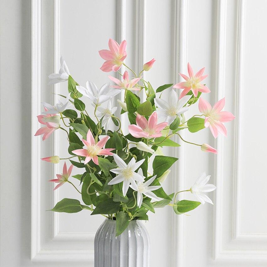 Flores artificiales de loto CHENCHENG, flores de seda artificiales Clematis, látex de tacto real, ramo de boda, decoración de fiesta en casa, mesa de otoño